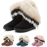Women winter warm faux fox rabbit fur snow ankle boots