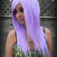 20% OFF SALE Light Purple / Long Straight Layered Wig