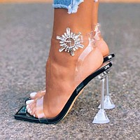 New Women Transparent Rhinestone Buckle Super High Heels  Shoes Sandals