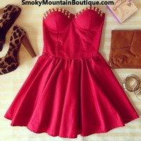 Sexy Red Bustier Dress with Studs and with Adjustable Straps - Size S/M/L - Smoky Mountain Boutique