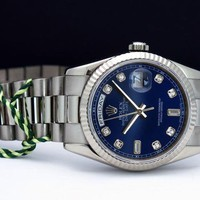 Rolex Day Date President White Gold Blue Diamond Dial 118239 - WATCH CHEST