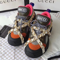 GUCCI  Lady Gucci leisure water drill sneakers