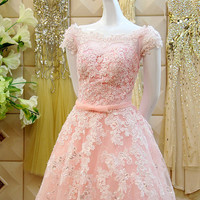 Cap Sleeves Floor Length Zipper Back with Covered Buttons Lace Wedding Dress with Sash Evening Dress Prom Gown