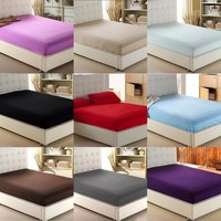 Cool home textile solid color sheets fitted bed sheet elastic mattress cover bed linen bedspread single full queen king free shippingAT_93_12