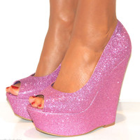 LADIES PINK PURPLE SPARKLY GLITTERY PEEP TOE PLATFORM WEDGE HIGH HEELS SHOE 3-8