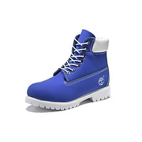 Timberland 10061 Leather Lace-Up Boot Men Women Shoes Blue White