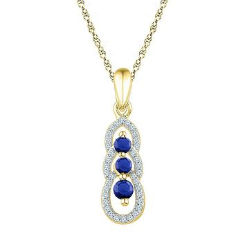 10kt Yellow Gold Womens Round Lab-Created Blue Sapphire 3-stone Pendant 1-2 Cttw