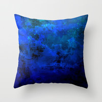 SECOND STAR TO THE RIGHT Rich Indigo Navy Blue Starry Night Sky Galaxy Clouds Fantasy Abstract Art Throw Pillow by EbiEmporium