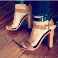 Fashion brown black high-heels simple style women sandals shoes
