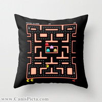 Ms. Pac-Man Video Game Throw Pillow 16x16 Graphic Decorative Cover Pop Culture Pac Man Gamer Hot 80s 90s Kid Black Nerdy Nerd Geek Geekery
