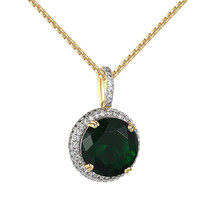 Green Ruby CZ Pendant Solitaire 14k Gold Finish Iced Out XmasDeal