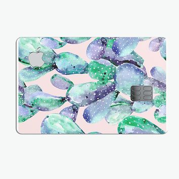 Watercolor Cactus Succulent Bloom V8 - Premium Protective Decal Skin-Kit for the Apple Credit Card