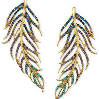 RACHEL Rachel Roy Earrings, Gold-Tone Multicolor Glass Pave Feather Post Earrings - Fashion Jewelry - Jewelry & Watches - Macy's