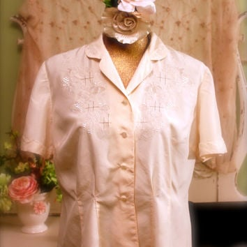 1930's Embroidered Top, 30's Art Deco Blouse, Downton Abbey Clothing, Ecru Lace Shirt, Vintage 20s Clothing, Short Sleeve Blouse, Size Large