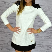 White Pu Leather Panel Shift Dress
