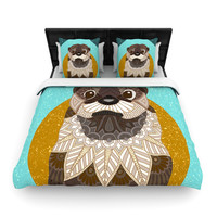 """Art Love Passion """"Otter in Water"""" Blue Brown Woven Duvet Cover"""