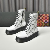 lv louis vuitton trending womens men leather side zip lace up ankle boots shoes high boots 28