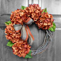 Fall Hydrangea Grapevine Wreath with Burlap - Fall Wreath - Orange Hydrangeas - Fall Decor - Autumn Wreath - Thanksgiving Wreath