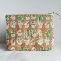 Cactus Patterned Vegan Leather Pouch // adorable cactus printed Kraft fabric zippered clutch, perfect for the beach and festivals