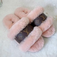 LV Louis Vuitton UGG plush stitching letter print men and women sandals slippers boots Shoes #7