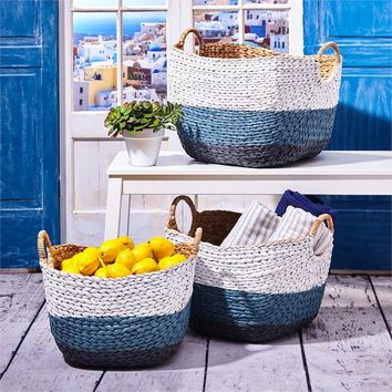 Blue and White Hand Woven Baskets - Set of 3
