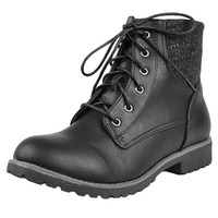 Womens Ankle Boots Knitted Ankle Lace Up Casual Riding Shoes Black SZ