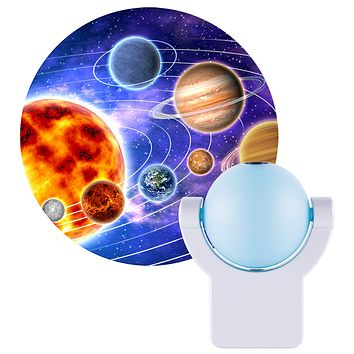 Projectables LED Space Night Light Projector, Dusk-to-Dawn Sensor, Auto On/Off, Projects Image Featuring Mercury, Venus, Earth, Mars, Saturn & Neptune on Ceiling, Wall, or Floor, Blue/Silver, 11282 Solar System