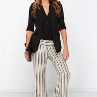 O'Neill Benny Black and Cream Striped Pants