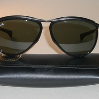 VINTAGE B&L RAY BAN W0641 FULL BLACK G15 UV OLYMPIAN AVIATOR SUNGLASSES NrMINT
