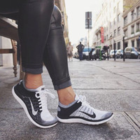 """NIKE"" Women Men Running Sport Casual Shoes Sneakers Grey black"