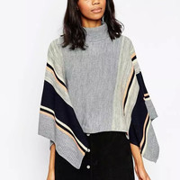Gray Striped Pattern Knitted Asymmetrical Turtleneck Loose Cloak