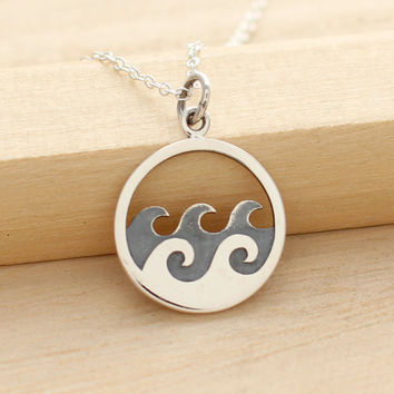 Waves Necklace - Sterling Silver Waves Pendant - Surfer Jewelry -Beach Necklace - Ocean Waves Jewelry - Sea Waves - Vacation Resort Jewelry