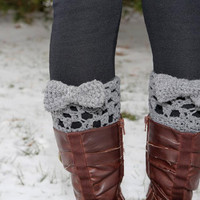 Crocheted boot cuff leg warmers with bow in by KathleenRoseAmor