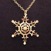 Gold plated brass Spider Snowflake necklace, snowflake pendant, snowflake jewelry, Christmas jewelry