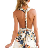 Floral Print Backless Romper