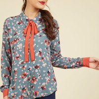 Coveted Career Long Sleeve Top in Slate Floral   Mod Retro Vintage Short Sleeve Shirts   ModCloth.com
