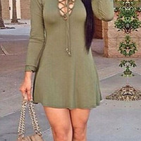 Long-Sleeve V-Neck Drawstring Dress