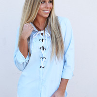 Blue Skies Lace-up Top