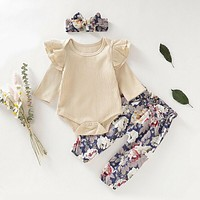 3Pcs Baby Girl's Romper Tops Bodysuit Flower Pants Headband Outfits Clothes Set