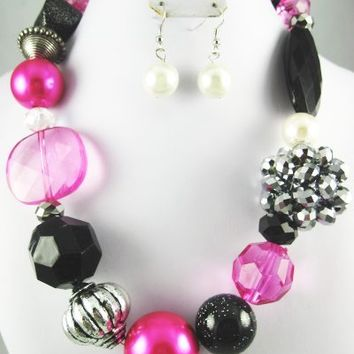 Pink Black Chunky Western Necklace & Earring Set