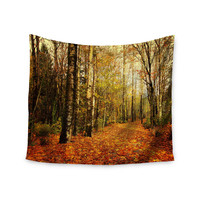 "Sylvia Cook ""Autumn Leaves"" Rustic Wall Tapestry"