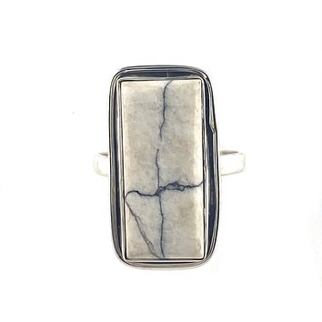 White Buffalo Sterling Silver Rectangular Criss Criss Ring