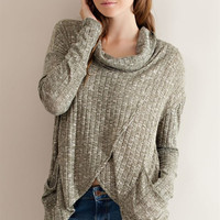 Cowl Neck Wrapped Top - Olive