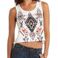 Aztec Graphic Swing Crop Top by Charlotte Russe