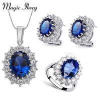 Big Crystal Sapphire Jewelry Sets Blue Neckalce Earrings Ring Set Real White Gold Plated Statement Jewelries for Women