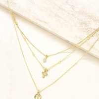 Layered Cross Necklace in Gold