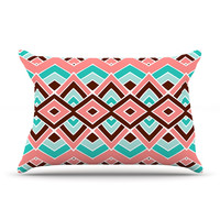 """Pom Graphic Design """"Eclectic"""" Peach Teal Pillow Case"""