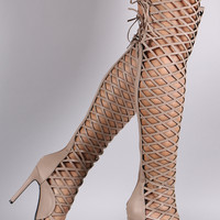 Caged Peep Toe Over The Knee Stiletto Boot
