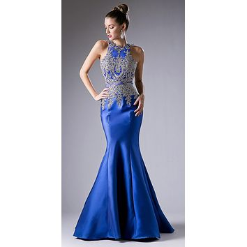 Embroidered Bodice Mermaid Prom Gown Cut Out Back Royal Blue