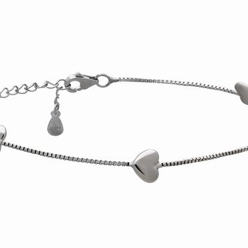925 Sterling Silver Hearts Bracelet Heart Charms Simple Minimalist Jewelry Romantic Gifts, 3 Grams Lobster Clasp,Gift for Her